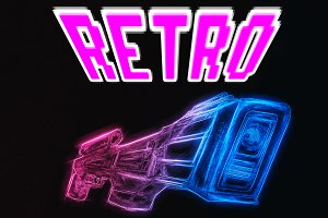 Retro blaster design illustration background