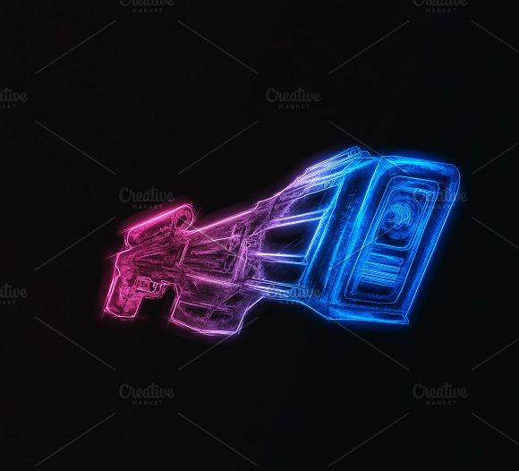 Vintage Pink And Blue Blaster Design Illustration