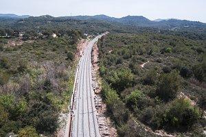 Train track near of Barcelona.