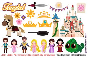 Tangled Rapunzel Digital Clipart
