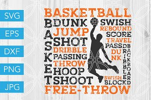 Basketball SVG Subway Art SVG