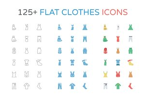 125+ Flat Clothes Icons