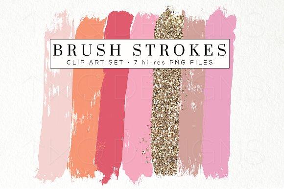 Pink Peach Glitter Brush Strokes