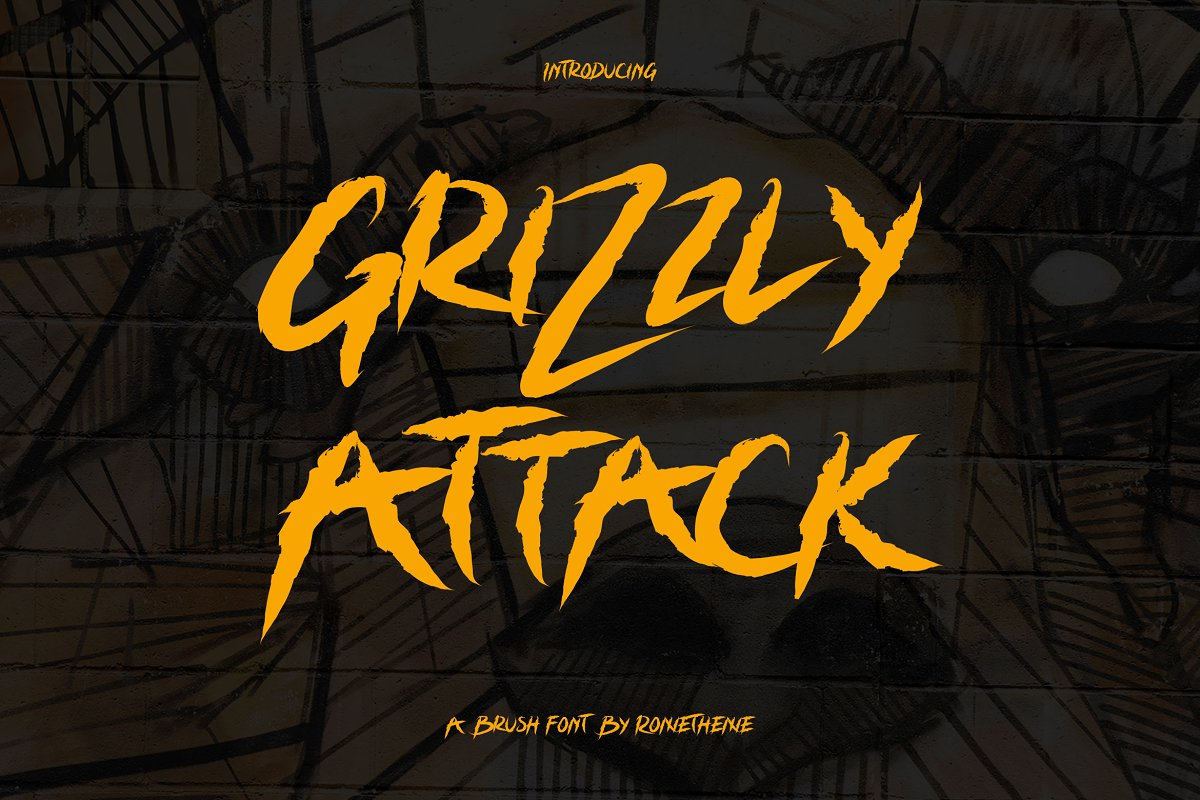 Grizzly Attack - Brush Font