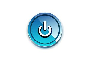 Power button icon, start symbol, web design UI or application design element