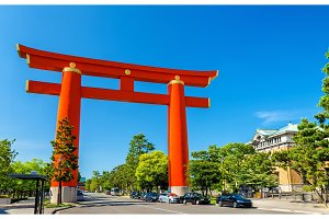 Torii of Heian Shrine in Kyoto