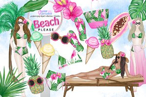 Beach Fashion Clipart Collection