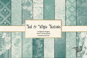 Teal and White Textures