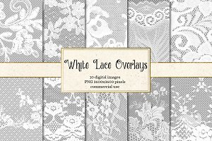 White Lace PNG Overlays