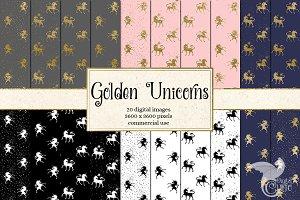 Golden Unicorn digital paper