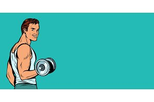 sportive man with dumbbells