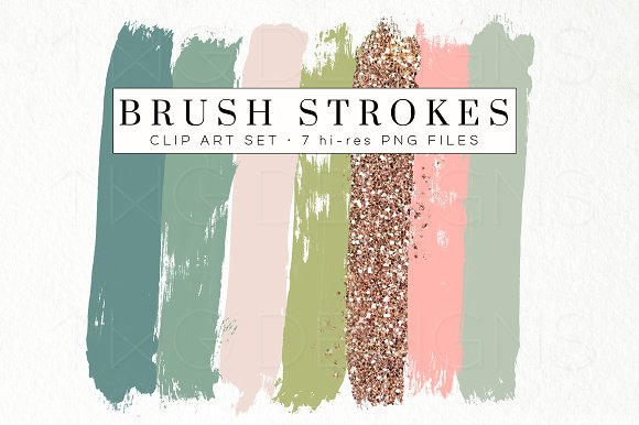 Green Peach Glitter Brush Strokes