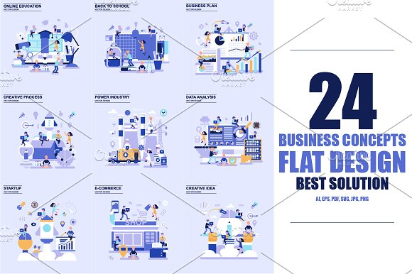 Flat Design Business Concepts