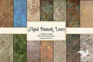 Aged Damask Linen Textures