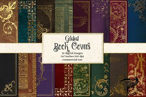 Gilded Book Covers Digital Paper