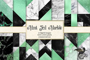 Mint Foil Marble Digital Paper