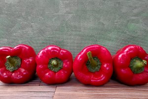 Big red peppers row
