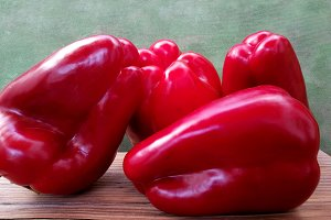 Big red peppers for cooking