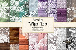Wood and White Lace Digital Paper