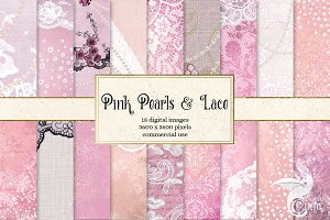 Pink Pearls and Lace Digital Paper
