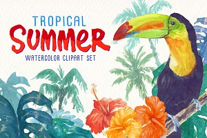 tropical summer watercolor clipart