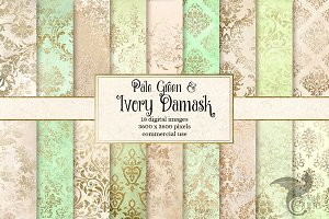 Pale Green and Ivory Damask