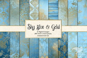 Sky Blue and Gold Digital Paper