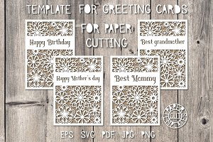 Greeting card template for paper cut