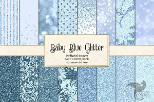 Baby Blue Glitter Digital Paper