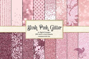 Blush Pink Glitter Digital Paper