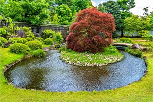 Traditional Japanese garden Koko-en in Himeji