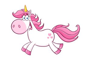 Cute Magic Unicorn Cartoon Character