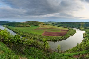 Spring Dnister river pano, Ukraine