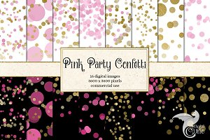 Pink Party Confetti Backgrounds