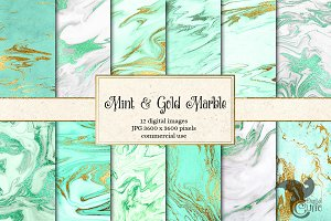 Mint and Gold Marble Textures