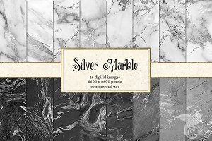Silver Marble Digital Paper