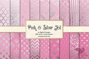Pink and Silver Foil Digital Paper