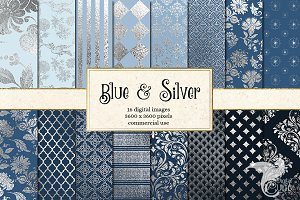Blue and Silver Digital Paper