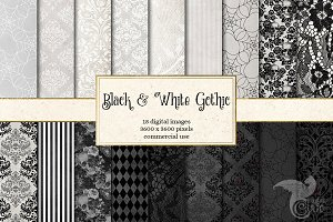 Black and White Gothic Digital Paper