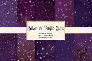 Silver Purple Stars Backgrounds