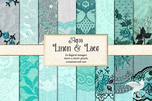 Aqua Linen and Lace Digital Paper