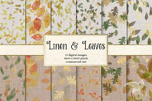 Linen and Leaves Digital Paper