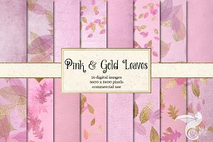 Pink and Gold Leaves Backgrounds