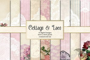 Cottage and Lace Digital Paper