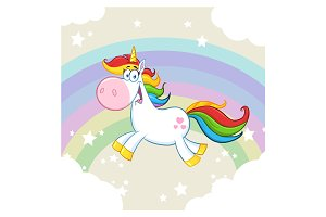 Cute Magic Unicorn Mascot Character