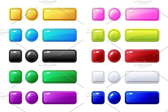 Colored Buttons Big Set For Game Or Web Design Element