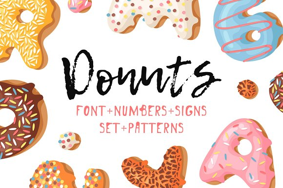 Donuts Font Signs Patterns