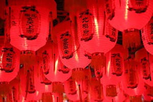 Chinese lanterns in red, vivid color
