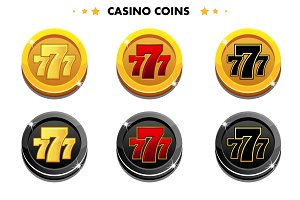 Golden and black Coins 777, casino game symbols