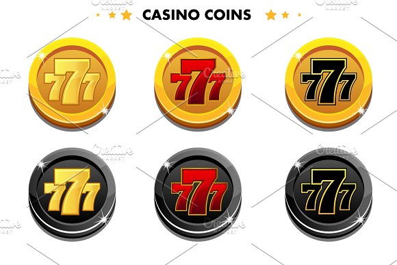 Golden And Black Coins 777 Casino Game Symbols